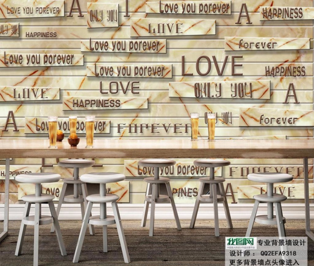 Photo Wallpaper 3D Custom marble Wooden letters Retro Wallpaper Mural Photo For Bedroom Decorative Paintings<br>