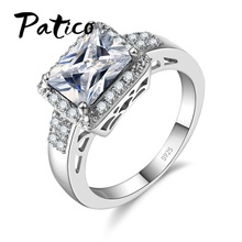 PATICO Candy AAA Zircon 925 Silver Rings for Women Ladies Engagement Wedding Jewelry Amazing Princess Cut Stones Bioux