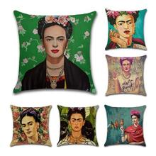 Printed Polyester Retro Flax Pillowcase Printing Frida Carlo Image Pillow Cover Decorative Home Textiles