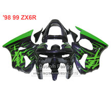 special custom Motorcycle fairings for Kawasaki zx6r green flames 98 99 1998 1999 Ninja 636  zx 6r fairing kit  xl25