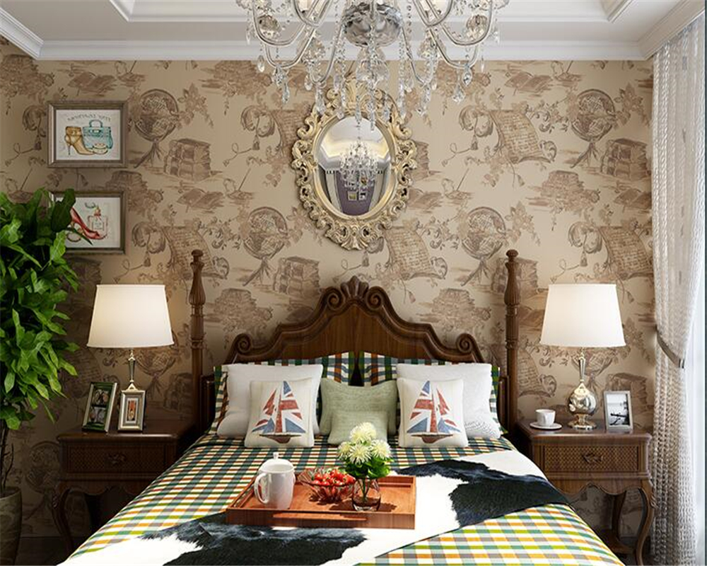beibehang American Retro Style Flower Wallpaper Nostalgic Bedroom Living Room Study Background papel de parede 3d Wall paper <br>