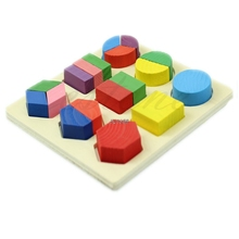 Free Shipping Kids Baby Wooden Learning Montessori Early Educational Toy Geometry Puzzle A7444