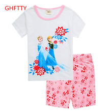 New cotton girl short sleeve, 2 girls home wear, children's clothing, summer suite, air conditioning clothing, cartoon pajamas