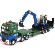 KAIDIWEI 1:50 Scale Simulation Alloy Flat Trailer With Excavator Model Car Toy For Kids Metal Truck Toys Brinquedos