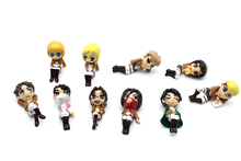 5pcs/lot 3.5cm PVC Q version kawaii random send Attack on Titan action figure set collectible model toys for boys(China)
