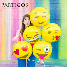 5pcs/lot 18 inch emoji foil balloons Smile Cry Heart Expression Wedding Birthday Party Decor balon Child Gifts globos supplies(China)