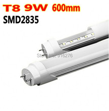 Free shipping LED tube T8 lamp 9W 48x2835SMD 600mm 0.6M 2ft  Integrated Fluorescent compatible inductive ballast remove starter