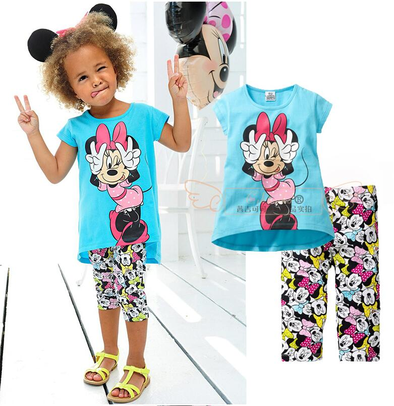 2017 baby Girls clothing set for summer fashion minnie casual t-shirts+Middle pants 100% cotton children girls' sets blue(China (Mainland))