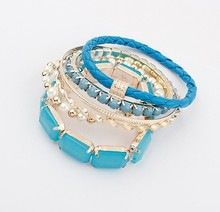 SBY1784 Sweet Simple Bead Bracelet Crystal Joker Bohemian Stone Leather Bangles For Woman Fashion Jewelry Wholesale