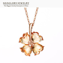 Neoglory Rose Gold Color Charm The four leaf clover Design Pendant & Necklaces For Women Zircon Fashion Jewelry 2017 New Brand