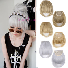 Synthetic Hair Neat Fringe Bangs 2Clips Clip In Hair Extensions Black Brown Blonde 14Colors Fashion Hairpieces False Fake Hair