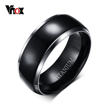 Vnox Mens Titanium Ring Black Engagement Wedding Jewelry USA Size 100% Titanium Metal