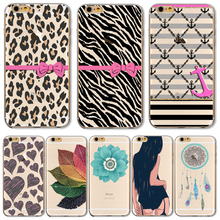 TPU Cover For Apple iPhone 4 4S 5 5S SE 5C 6 6S 6Plus 6S+ Cases Phone Shell Lovely Red Lips Leopard Print Graceful Lotus Durable(China)