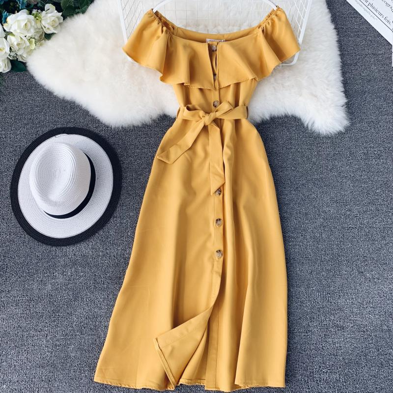 Women White Orange Casual Access Slash Neck Solid Color Single Breasted Vestidos E459 26 Online shopping Bangladesh