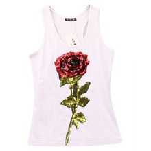 Summer Tank Shirts Women's Rose Sequins Sequined Vest Camisole Women Tops Fashion Racer Back Tops(China)