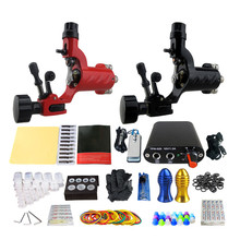 2017 Pro Complete Tattoo Machine Kit Set 2Pcs Rotary Tattoo Machine Gun Power Supply  Needles Grips Tips Footswitch For Body Art