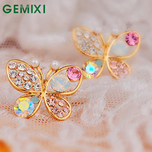 Bling-world Hollow Luxury Bright Colorful Cystal Simulated Pearl Butterfly Earrings ap24