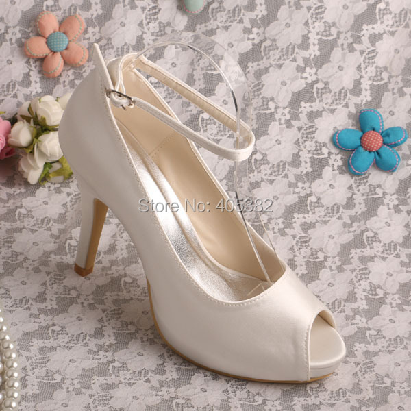 Wedopus High Heels Ivory Satin Wedding Shoes Woman with Ankle Strap<br><br>Aliexpress