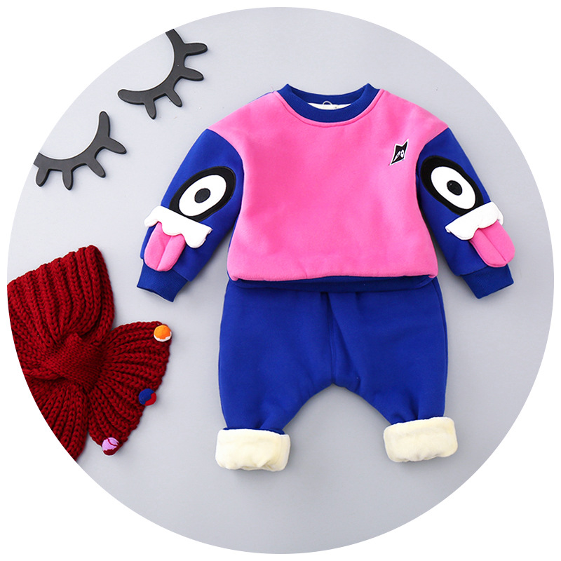 Boys and girls children s suit  thickening plus velvet 2017 winter new baby baby two - piece cartoon for 1-4T<br><br>Aliexpress