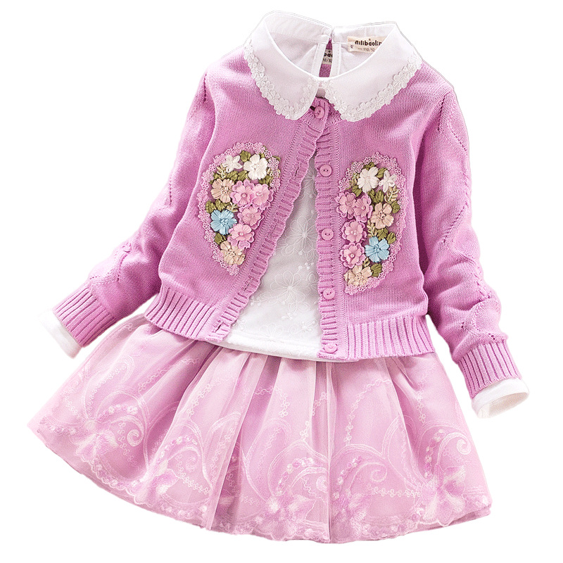 Free shipping 100%  top quality baby sweater dress set ,2017 Cardigan jacket with dress 3 pcs per set Cardigan+shirt+dress<br>