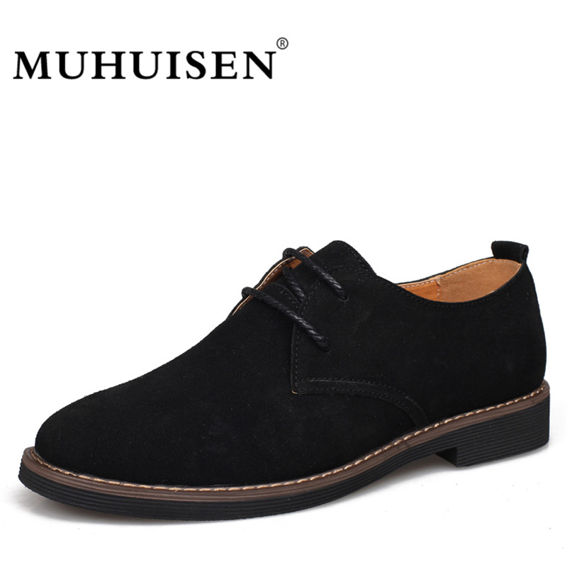 MUHUISEN 2017 New Suede Genuine Leather Men Oxford Shoes Spring Autumn Lace Up Casual Flats Fashion Male Dress Shoes <br>