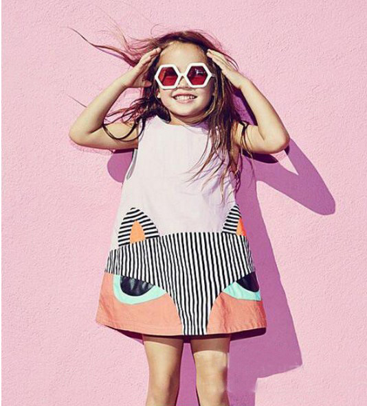 2017 summer  GIRLS FOX CARTOON  cotton short sleeved girls dresses for girls kikikids nununu baby girl clothes kids clothes1-4 <br><br>Aliexpress