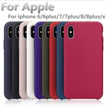For Apple iphone 6 silicone case have logo Official style case for iphone 7 8 plus X Original phone back cover with retail box(China)