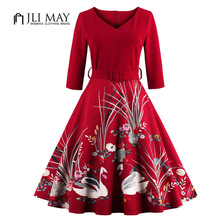 JLI MAY V-neck belted print women dress Plus size Vintage Three Quarter sleeve retro red swan 50s Hepburn evening party dresses