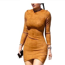 Suede Solid Bodycon Dress 2016 Hot Fashion O-neck Long Sleeve Brown Suede Dress Slim Casual Women Dresses S-XL Vestido Robe(China)