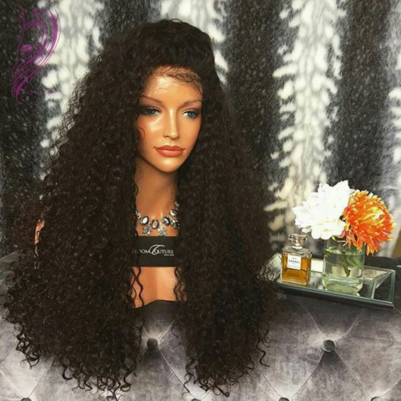 Side Part Japanese Heat Resistant Fiber Cheap Long Black Wig Curly Synthetic Lace Front Wig With Baby Hair For Black Women<br><br>Aliexpress