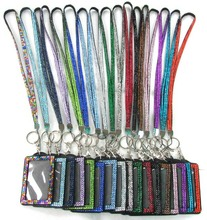 Wholesale 100pcs Bank Card Bus Card ID Badge Holder With Bling Crystal Rhinestone Neck Lanyard Strap