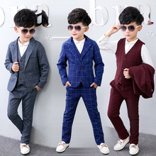 3pcs Jacket+Vest+Pants 2017 New Fashion Toddler Kids Boys Plaid Formal Party Weddings Tuxedos Boys Suits Blazers Boys Blazer Set
