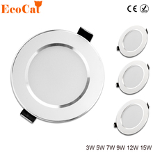 ECO Cat Led Downlight 3W 5W 7W 9W 12W 15W 220V 240V LED Ceiling bathroom Lamps living room light Home Indoor Lighting(China)