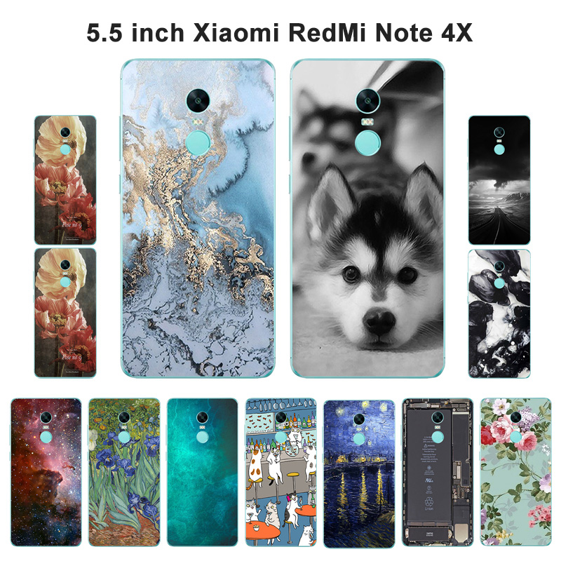 Xiaomi Redmi Note 4X Case Prime Cover Soft Silicone Redmi Note 4X Marble Dog Scenery Painted Xiomi Redmi Note4 Shell