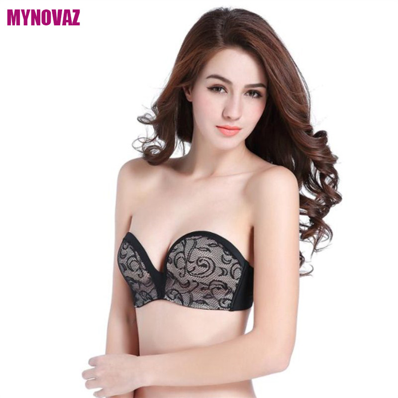 MYNOVAZ-Hot Sell Sexy Invisible Bras Seamless Lace Bralette One-Piece Strapless For Women Push Up Fashion Wireless Bra Plus Size 4
