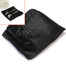 10Pcs Wedding Party Tableware Home Dinner Table Polyester Cloth Napkins Black(China)