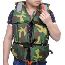 Camouflage Adult Life Vest Boating Safety Swimming Life Jacket Survival Kit Buoyancy Aid Polyester Floating Foam with Whistle