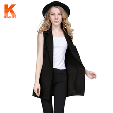 Spring Summer Outerwear Fashion Long Vest Coat Women's Sleeveless Cardigan Top Casual Office Party Jacket Coats