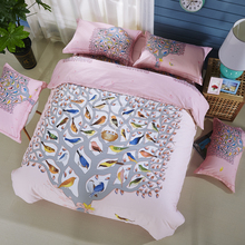Bird and Floral Calla Lily Tulip Rose Daisy Sunflower Bedding Set Queen King Size Cotton Duvet Cover Bed Linens Home Textiles