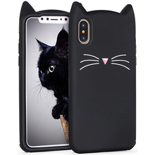 Buy Fashion Cute Cate Back Cover Case iPhone X 10 8 7 6 6S Plus 5 5S SE 4 4S Case Silicone Phone Protector Black White Cartoon for $2.00 in AliExpress store