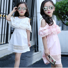 Girls Dresses Leakage shoulder Dress kids lace princess tutu Summer Children Clothes Lovely Princess girls Dresses Holiday Party