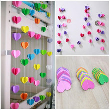 1PC 3D Colorful Heart Shape Paper Garlands 3M For Home Party Wedding&Birthday Party Ornaments Pop Banner Festival Decoration(China)