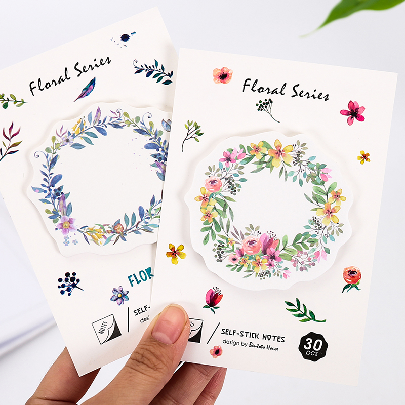 4 pcs/Lot Floral's wreath sticky notes 30 sheets Watercolor flower memo pad Mini bookmark Stationery Office School supplies F424(China (Mainland))