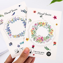4 pcs/Lot Floral's wreath sticky notes 30 sheets Watercolor flower memo pad Mini bookmark Stationery Office School supplies F424(China)