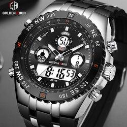 GOLDENHOUR мужские спортивные часы аналогово-цифровые с двойным дисплеем мужские модные уличные военные черные резиновые наручные часы светящи...