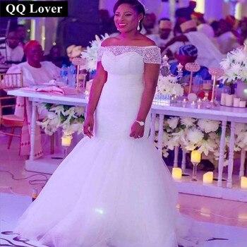 QQ Lover Newest Off Shoulder Short Sleeves Wedding Dress 2017 Mermaid Wedding Dresses Bridal Gown Custom Size Vestido De Noiva