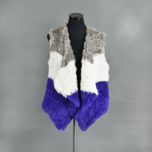 VR076 Knitted knit new real rabbit fur vest overcoat jacket women's winter warm genuine fur vest plus size(China)