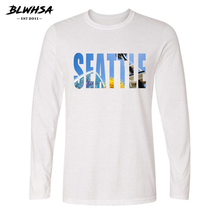 BLWHSA USA City Seattle Design Fashion Man T Shirt Long Sleeve O-Neck Top Tees Seattle Letters Printed Brand Men T-Shirt(China)