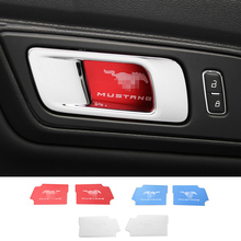 Car Styling 2pcs Interior Door Handle Bowl Cover Sticker trim For Ford Mustang 2015+