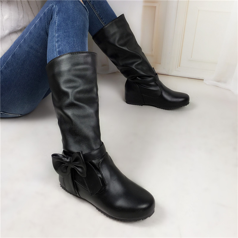 big size 34-52 autumn Winter mid calf Women Boots Cute Bow snow motorcycle boots inner heels woman shoes fashion women boots<br><br>Aliexpress